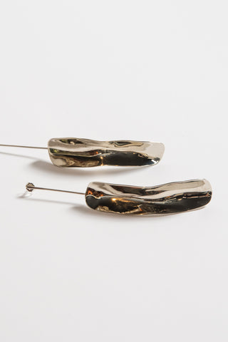 Samma Long Shape On Silver Stick Earrings in Silver/White Bronze | Oroboro Store | New York, NY