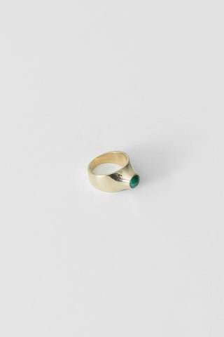 Grete Ring in Brass/Malachite