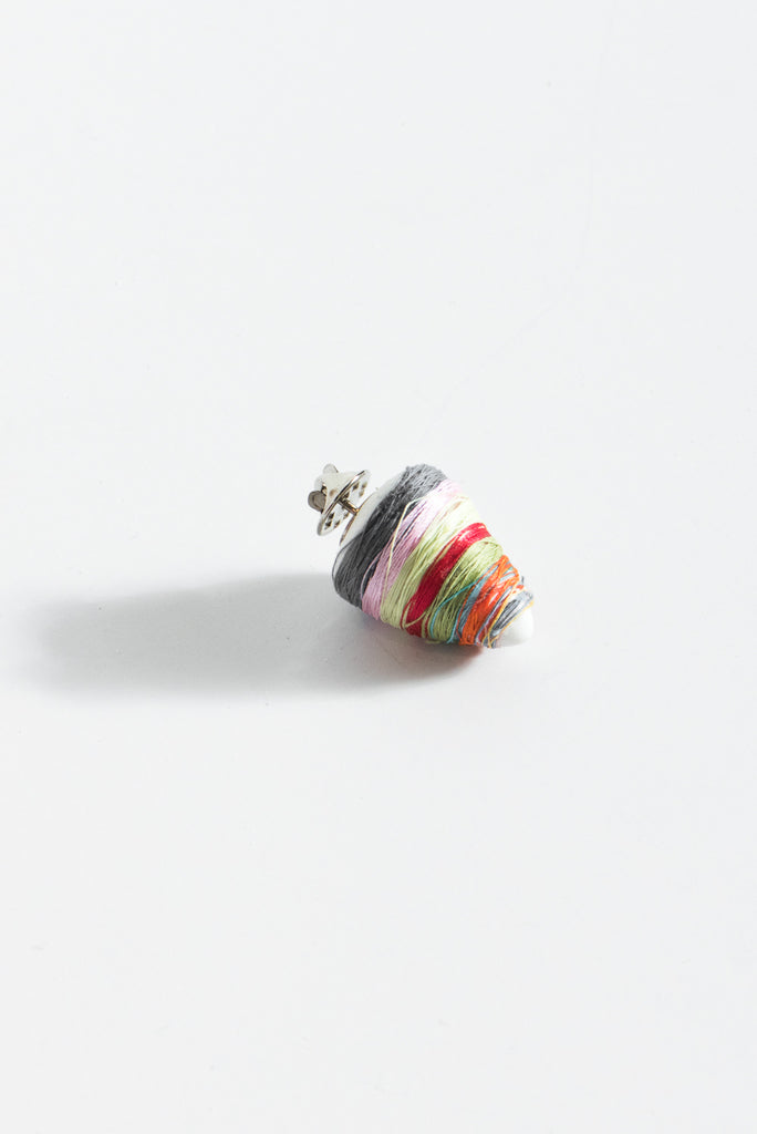 Monty J Ceramic Button Brooch in Thread Wrapped Multi | Oroboro Store | New York, NY