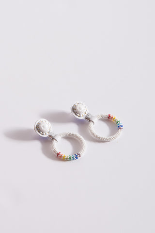 Robin Mollicone Small Beaded Hoop Earring in White Howlite/Rainbow | Oroboro Store | New York, NY