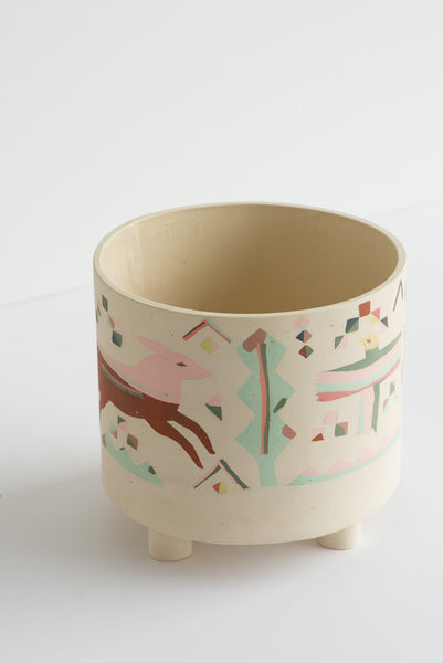 Heidi Anderson Large Inlay Footed Pot in Multi | Oroboro Store | New York, NY
