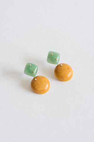 Jessica Winzelberg Mobile Earrings  in Aventurine & Yellow Jasper | Oroboro Store | New York, NY