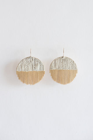 Hannah Keefe Large Half Circle Earring with Fringe in Silver & Brass | Oroboro Store | New York, NY