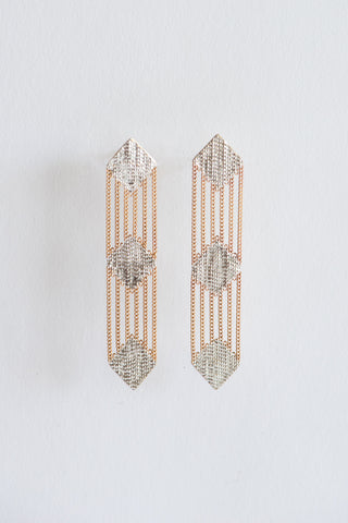 Hannah Keefe Tricycle Earrings in Brass & Silver | Oroboro Store | New York, NY