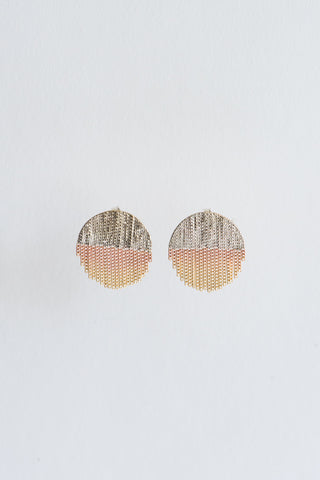 Hannah Keefe Small Half Circle Earrings with Fringe in Silver & Brass | Oroboro Store | New York, NY