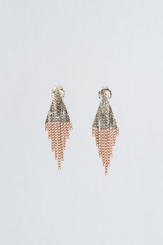 Hannah Keefe Small Triangle Earrings in Silver & Brass | Oroboro Store | New York, NY