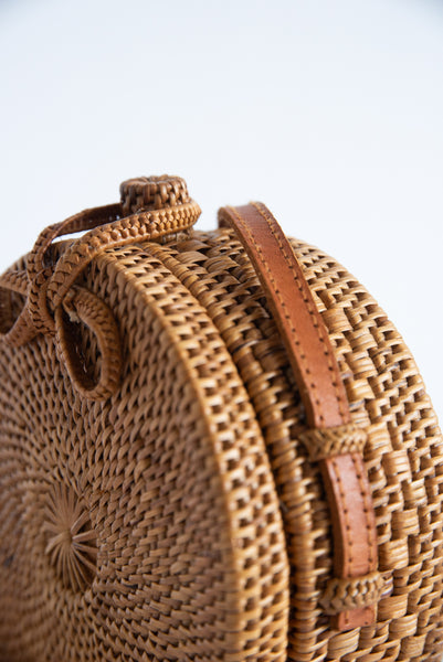Brother Vellies Nusa Mini Disc Bag in Woven Palm with Denim | Oroboro Store | New York, NY
