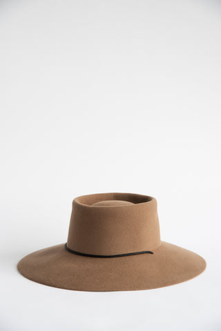 Clyde Gaucho Hat in Fawn Suede Angora | Oroboro Store | New York, NY