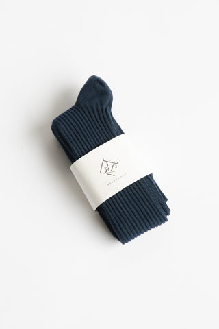Baserange Overknee Socks in Midnight Blue / Longstaple Cotton Rib | Oroboro Store | New York, NY