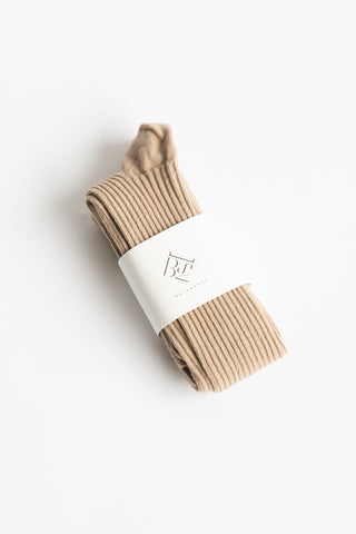 Baserange Overknee Socks in Sand / Longstaple Cotton Rib | Oroboro Store | New York, NY