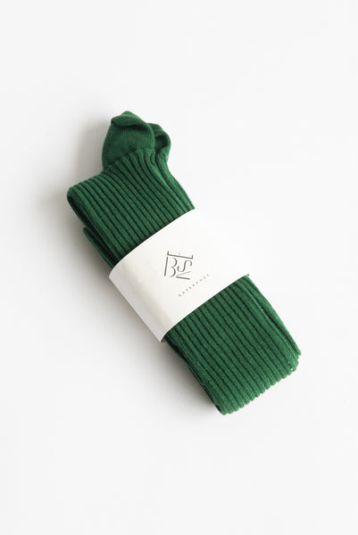Baserange Overknee Socks in Galea Green / Longstaple Cotton Rib | Oroboro Store | New York, NY