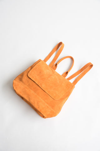 Room Backpack Italian Suede in Persimmon