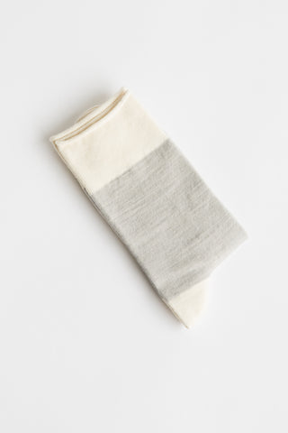 Sofie D'Hoore Flag Sock - Fine Wool Knit in Light Grey/Milk | Oroboro Store | New York, NY