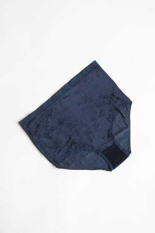 Baserange Highwaist Bell Pants in Midnight Blue / Shiny Velours | Oroboro Store | New York, NY