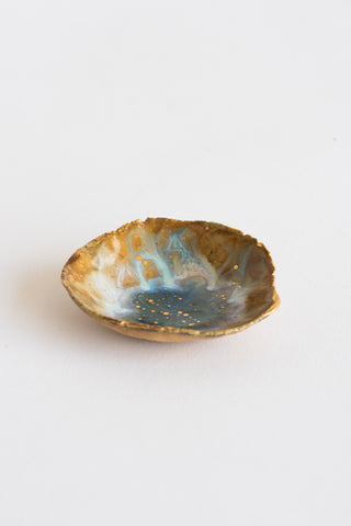 "Minh Singer 2"" Mini Iceland Dish in Buff Stoneware - Light Dancing on Water with Gold 