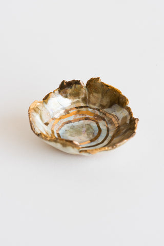 "Minh Singer 2"" Mini Iceland Dish in Buff Stoneware - Abalone with Gold Ripples 