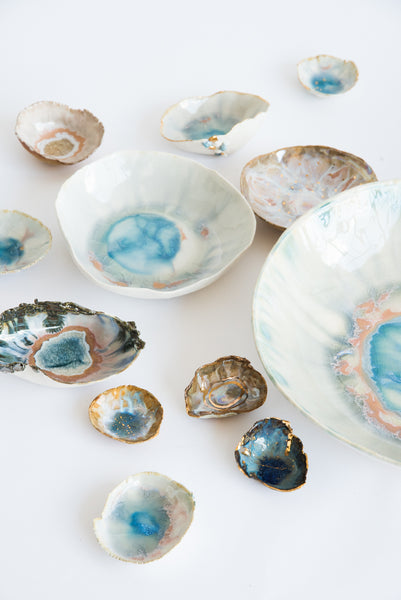 "Minh Singer 2"" Mini Ambrosia Dish  in Porcelain - Opal with Gold 
