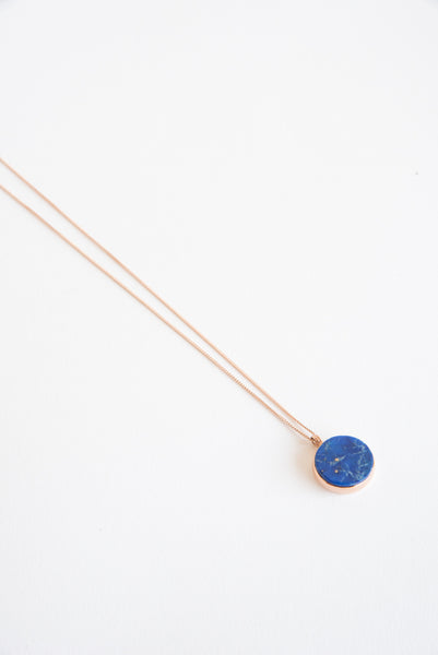 Ursa Major Checkerboard Cameo Pendant - 12mm in Lapis/10K Rose Gold | Oroboro Store | New York, NY