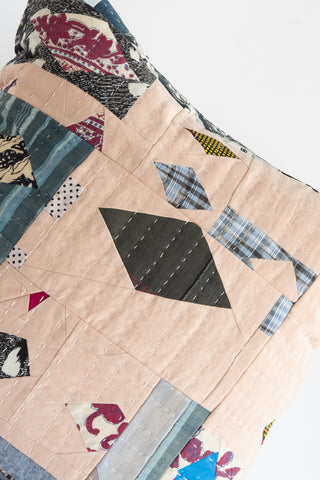 Counterpane Patchwork Pillow  in Soft Pink with Black & Gray | Oroboro Store | New York, NY