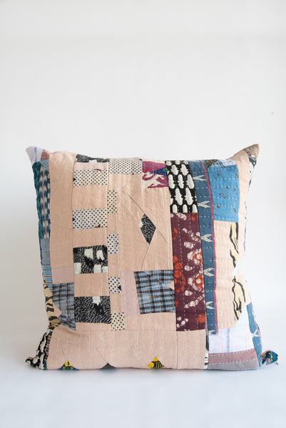 Counterpane Patchwork Pillow  in Soft Pink with Indigo & Magenta | Oroboro Store | New York, NY