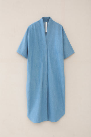 Lauren Manoogian Shawl Shirtdress in Light Wash front view
