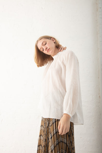 Tomorrowland  Gather Tunic Blouse in White | Oroboro Store | New York, NY