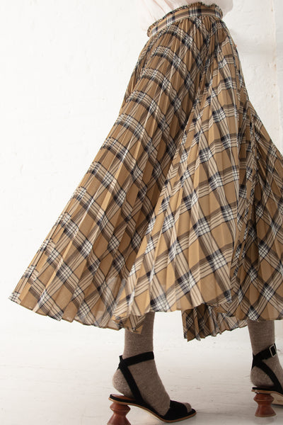 Tomorrowland Pleated Skirt in Beige Check | Oroboro Store | New York, NY