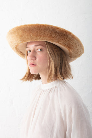 Samuji Fur Brim Hat in Light Yellow | Oroboro Store | New York, NY