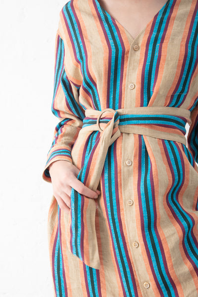 Tomorrowland Dress in Beige Stripe | Oroboro Store | New York, NY