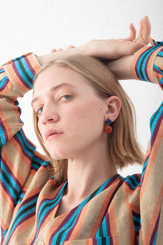 Jessica Winzelberg Mobile Earring in Lapis & Red Jasper | Oroboro Store | New York, NY