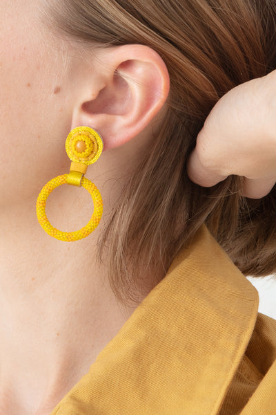 Robin Mollicone Small Beaded Hoop Earring in Yellow Jasper Monochrome | Oroboro Store | New York, NY