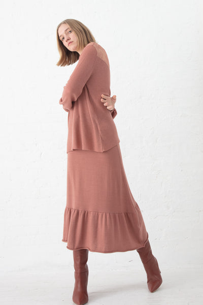 Ryan Roche Lace Insert Ribbed Sweater in Rose Wood | Oroboro Store | New York, NY