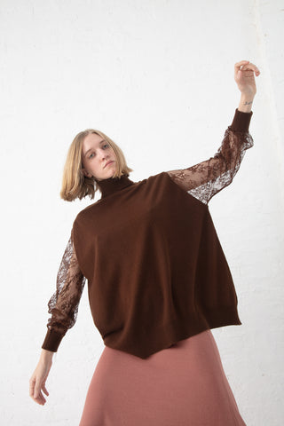 Ryan Roche Oversized Sweater with Lace Sleeves in Brunette | Oroboro Store | New York, NY