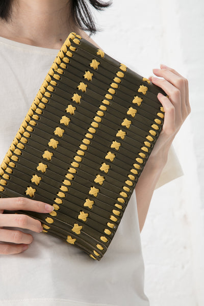 Hatori Clutch with Magnet Closure in Weed Leather / Mustard Lacing | Oroboro Store | New York, NY
