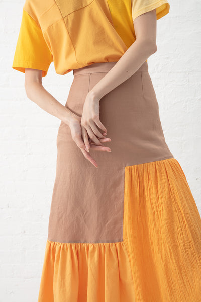 Correll Correll Flocco 19 Skirt in Copper with Orange Detail | Oroboro Store | New York, NY