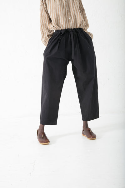 Ichi Antiquites Cotton Pant in Black | Oroboro Store | New York, NY