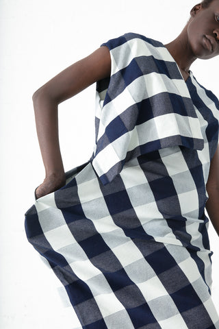Eatable of Many Orders Cocoon Dress in Blue/White | Oroboro Store | New York, NY