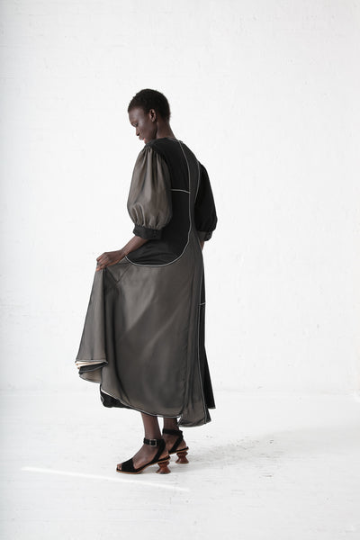Rejina Pyo Dylan Dress in Satin Black, Linen Ecru and Chiffon | Oroboro Store | New York, NY
