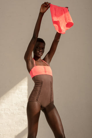 A Detacher Heather Bandeau in Coral Fluo | Oroboro Store | New York, NY