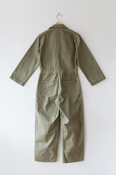 As Ever Zip Jumpsuit in Mission Olive back view