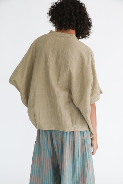Ichi Antiquites Cotton/Linen Pullover in Beige on model view back