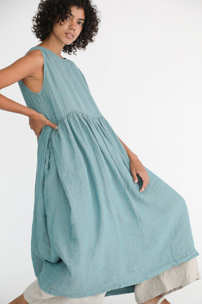 Ichi Antiquites Dress - Linen in Green on model view side