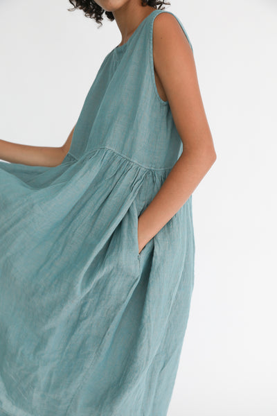 Ichi Antiquites Dress - Linen in Green pocket detail view