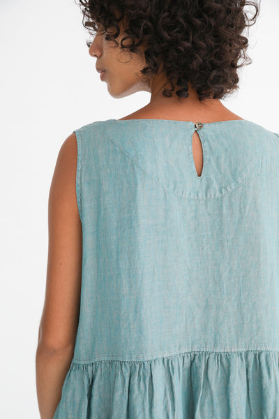 Ichi Antiquites Dress - Linen in Green back neck detail view
