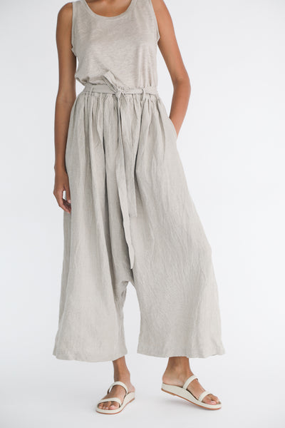 Ichi Antiquites Linen Pant in Natural on model view front