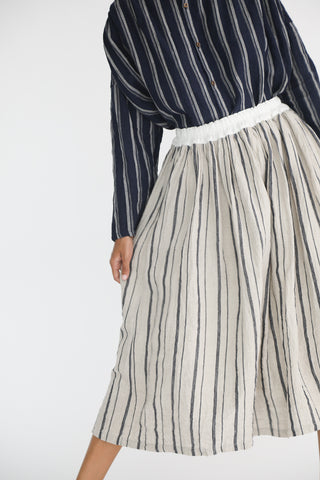 Ichi Antiquites Linen Skirt in Stripe Natural on model view front