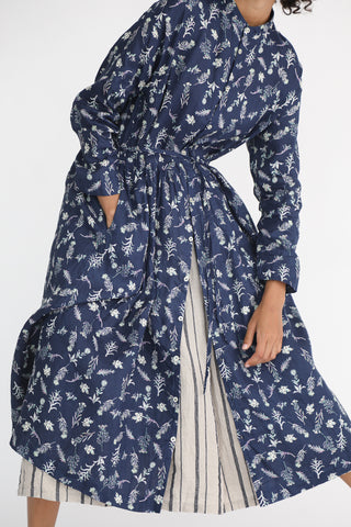 Ichi Antiquites Linen Dress in Navy Floral on model view front