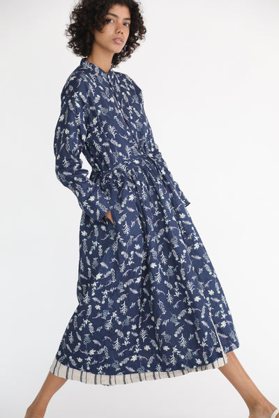 Ichi Antiquites Linen Dress in Navy Floral on model view side