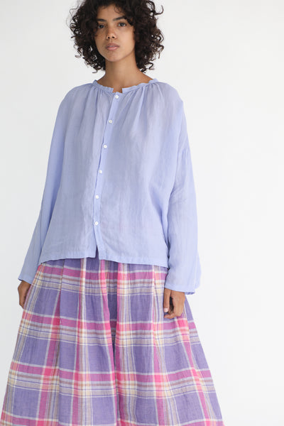 Ichi Antiquites Linen Shirt in Lavender on model view front