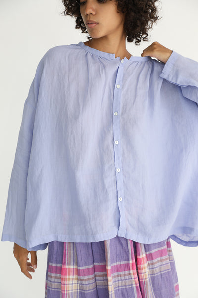 Ichi Antiquites Linen Shirt in Lavender front detail view